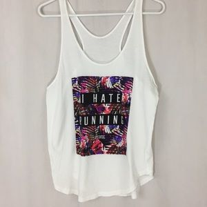 🌵Pink Tropical I Hate Running Tank Top sz L